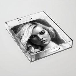 Margot Robbie Pencil Sketch Acrylic Tray