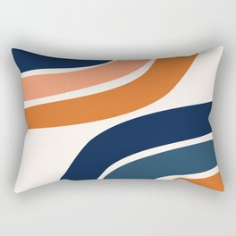 Abstract Shapes 35 in Burnt Orange and Navy Blue Rectangular Pillow