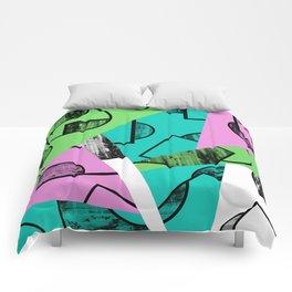 Broken Pieces - Pastel coloured, geometric, textured abstract Comforters