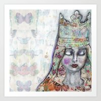 jane davenport Art Prints featuring Butterfly Crown by Jane Davenport by Jane Davenport