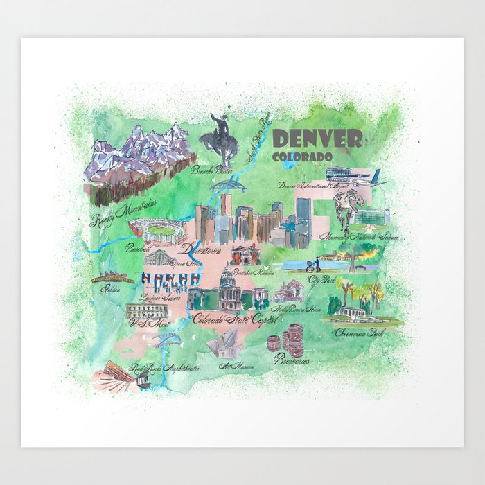 Denver Colorado Map Travel Poster Overview Best Of Typical ... on