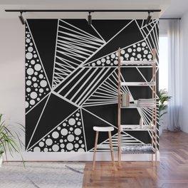 Black white geometric trendy artistic stripes polka dots Wall Mural