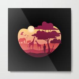 African Landscape giraffes elephants & tree Metal Print