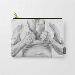 black and white Muscular man ripping t-shirt Carry-All Pouch