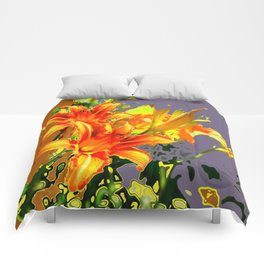 Serene Orange Daylilies Grey-Brown Abstract Comforters