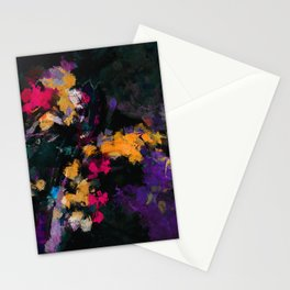 Purple and Yellow Abstract / Surrealist Painting Stationery Cards