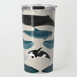 Whales - Pod of Whales Print by Andrea Lauren Travel Mug