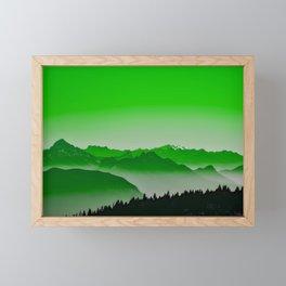Rise above the mist. Green Framed Mini Art Print