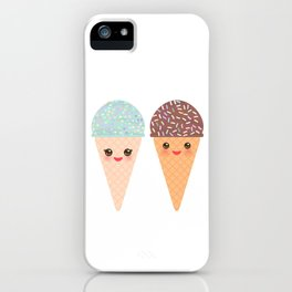 Ice cream waffle cone Kawaii funny muzzle with pink cheeks and winking eyes, pastel colors iPhone Case