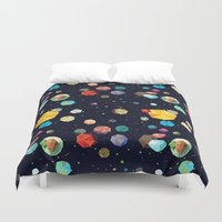 low poly Duvet Covers featuring Low Poly Space by Evan Smith