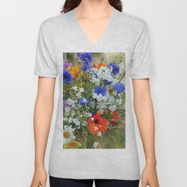 Wildflowers in a summer meadow Unisex V-Neck
