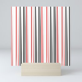red black and white abstract striped pattern Mini Art Print