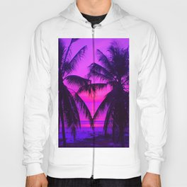 Pink Palm Trees by the Indian Ocean Hoody