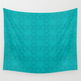 Turquoise Snow Flakes Wall Tapestry