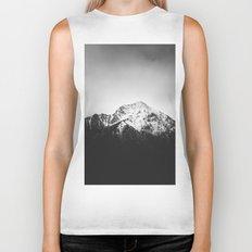 Black and white snowy mountain Biker Tank