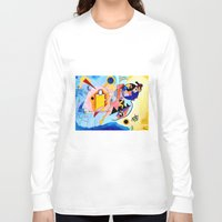 kandinsky Long Sleeve T-shirts featuring Yellow Red Blue - Tribute to Kandinsky by ArtvonDanielle