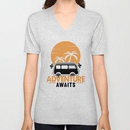 Adventure Awaits bw Unisex V-Neck