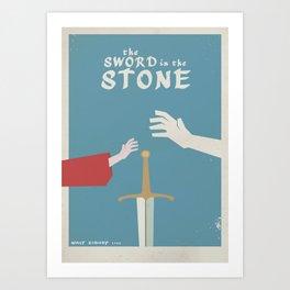 The Sword in the Stone - Minimal Movie Poster, animated Movie, King Arthur, Merlin, minimal, film Art Print