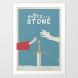 The sword in the stone, minimalist movie poster, animated film, King Arthur, Merlin, retro playbill Art Print