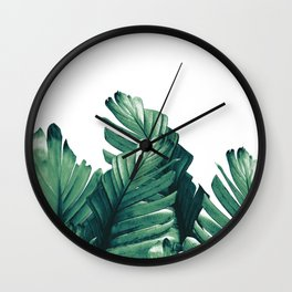 Green Banana Leaves Dream #1 #tropical #decor #art #society6 Wall Clock