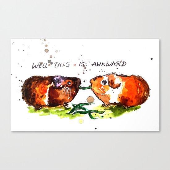 Guinea Pigs Feeling Awkward Canvas Print