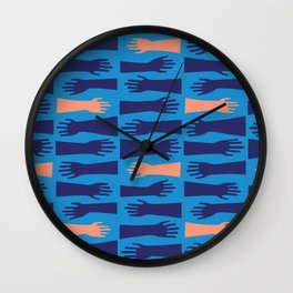 Blue Hand Wave Wall Clock