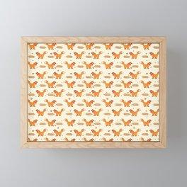 Red Fox & Hearts Pattern Framed Mini Art Print