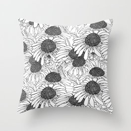 beautiful graphic daisies Throw Pillow