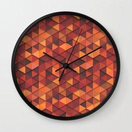 Seamless orange fashion retro hipster pattern Wall Clock