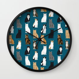 Cat breeds pattern kitty kittens cats tabby siamese white tortoiseshell Wall Clock