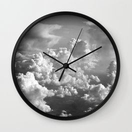 Light Dancing through Soft Clouds - Black and White Wall Clock