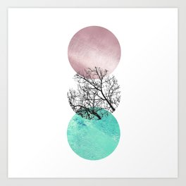 Lake in the forest under the pink sky Art Print
