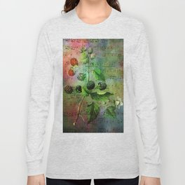 Blackberry Music, Vintage Botanical Illustration Collage Art Long Sleeve T-shirt