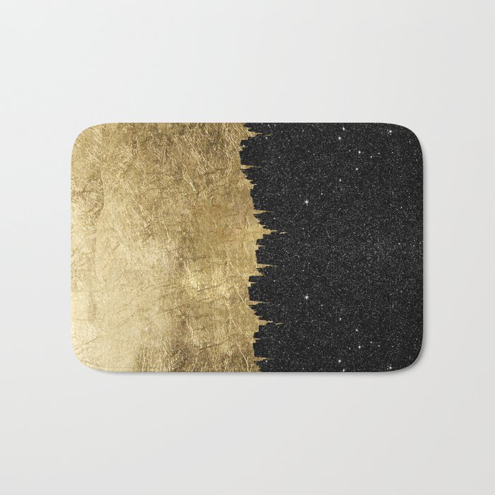 Faux Gold and Black Starry Night Brushstrokes Bath Mat