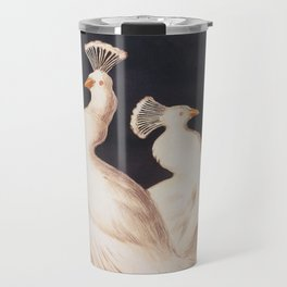 White Peacocks Vintage Animal Illustration Travel Mug