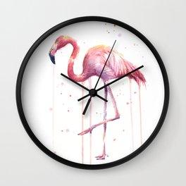 Flamingo Watercolor Tropical Birds Animal Painting Wall Clock