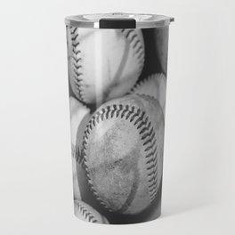 Baseballs in Black and White Travel Mug