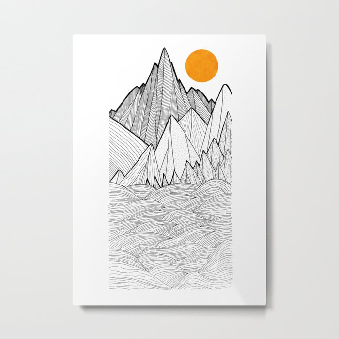 The waves and the mountains under the sun Metal Print