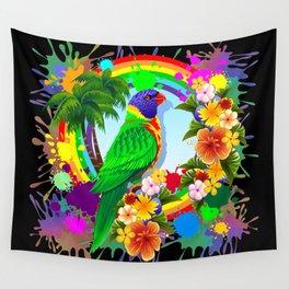 Rainbow Lorikeet Parrot Art Wall Tapestry