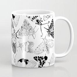 Moth Pattern Black and White Coffee Mug