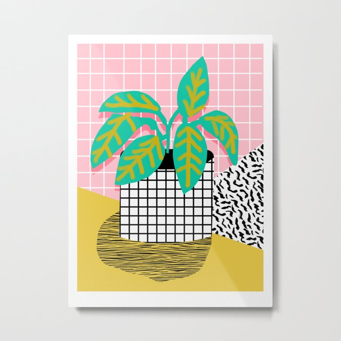 Get Real - potted plant throwback retro neon 1980s style art print minimal abstract grid lines shape Metal Print