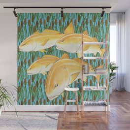 Live for the Catch- Red Fish Wall Mural