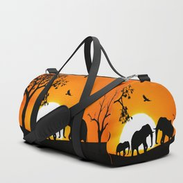 Elephant silhouettes at sunset Duffle Bag