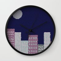 buildings Wall Clocks featuring Buildings by Marie Libot