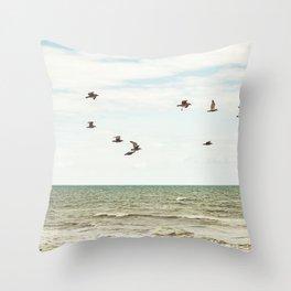 BIRDS - OCEAN - WAVES - SEA - PHOTOGRAPHY Throw Pillow