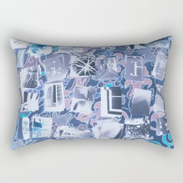 Traveling in Time Blue Rectangular Pillow