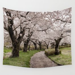 Row of cherry blossom trees Wall Tapestry