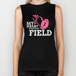 My Heart is on That Field Football Game Day Sports Biker Tank