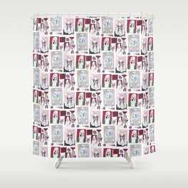 Red, White and Bait Shower Curtain