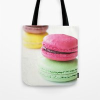 macaron Tote Bags featuring Macaron by Natalia Valle